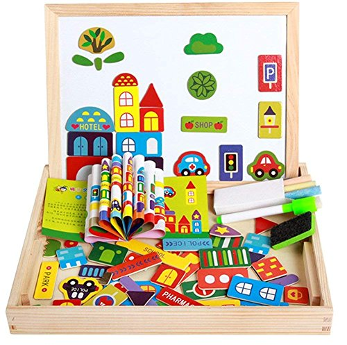 Magnetic Matching Picture Game Double Sided Wooden Easel Drawing Blackboard Magnetic Whiteboard Vehicle Magnet Jigsaws Puzzle Educational Learning Toys Gift For Kids Boys Girls 3 4 5 6 Years ()