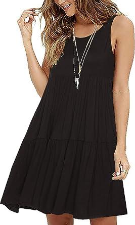 HAOMEILI Womens Sleeveless Loose Plain Dresses Casual Short Dress with Pockets