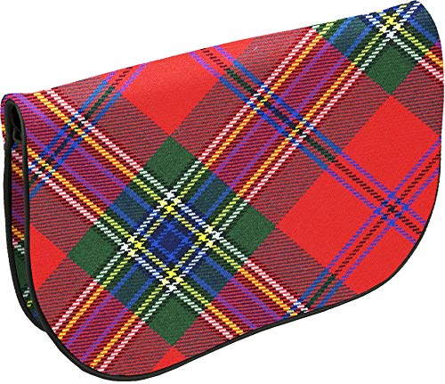 Large Leather Clutch Bag MacLean Modern Dress Tartan Inside and Back Pocket