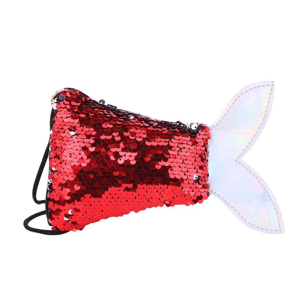 Fish Tail Sequins Shoulder Bag Coin Purse Kid Girls Crossbody Bags Wallet Clutch