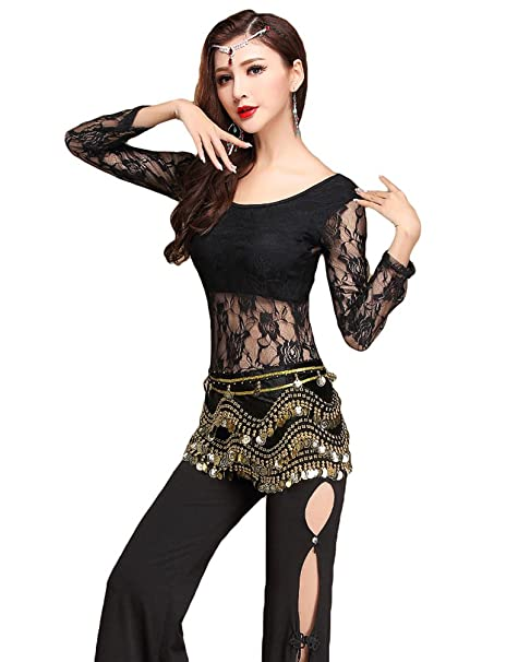 3a00762eeefc0 YiJee Women Indian Dance Costume Lace Belt Belly Dance Tops Pants   Amazon.co.uk  Clothing