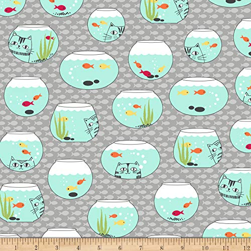 - Quilting Treasures Ink & Arrow Cat Fish Fish Bowls Fabric, Gray, Fabric By The Yard