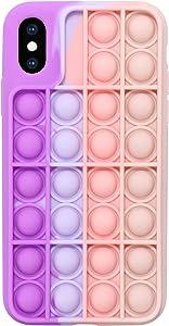 EVERMARKET Push Pop Bubble Fidget Sensory Toys Case for iPhone X/XS, Push Pop Bubble Silicone Case for iPhone X/iPhone Xs, Drop Protection Case 5.8inch (Purple Pink)