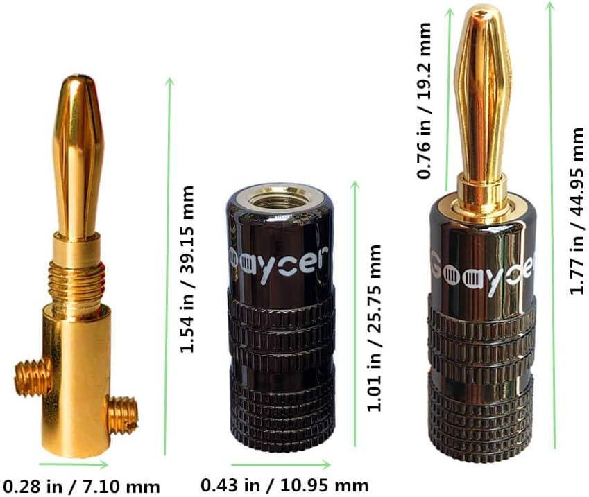 24 Pcs 24K Gold Plated Bannana Plug Speaker Connectors Goaycer 4mm Banana Plugs 12Pairs