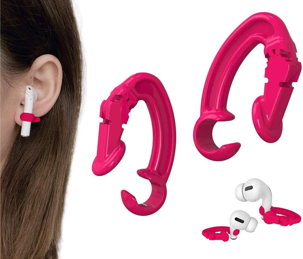 KKPOT 2 Pair Earpods Anti-Lost Ear Hook - Anti-Drop Sports Ear Clip,Wireless Earphones Grip Accessories Tips Compatible with Apple Airpods 1/2/Pro Or Earpods Headphones/Earphones/Earbuds (Red)