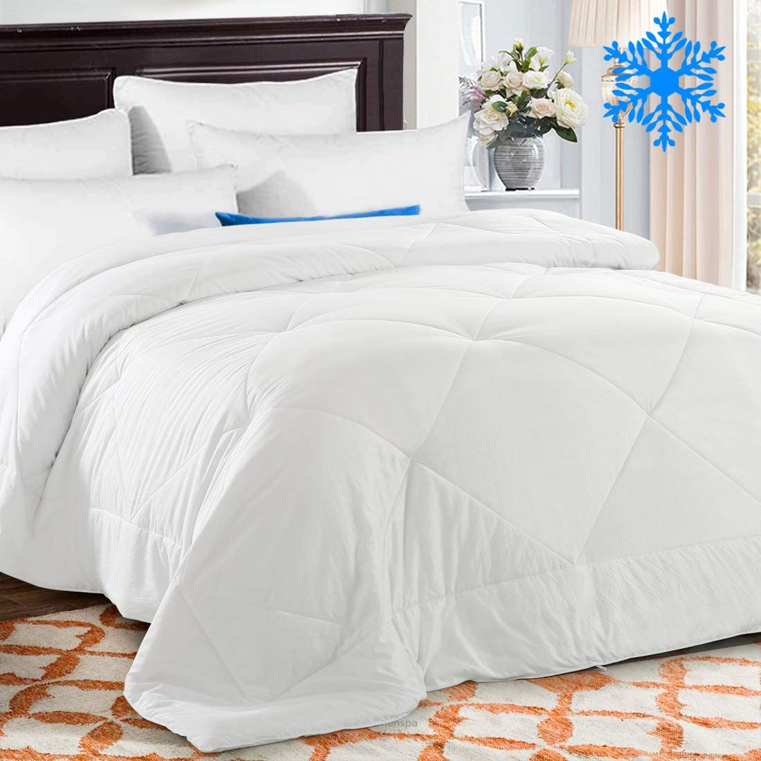 TEKAMON Summer Cooling Full Comforter Soft Quilted Down Alternative Duvet Insert with Corner Tabs, Fluffy Reversible Collection for Hotel, Cool White, 82 x 86 inches