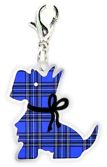 Scottish Red Tartan Scottie Dog with Bow Clip on Charm xDuc2yFv