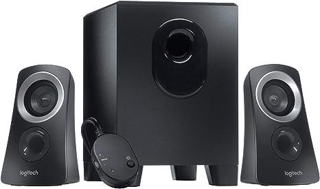 Logitech Z313 Sistema de Altavoces 2.1 con Subwoofer, Sonido Pleno, 50W de Pico, Graves Potentes, Entrada Audio 3.5 mm, Mando, Enchufe EU, PC/PS4/Xbox/ TV/Smartphone/Tablet, Negro: Amazon.es: Informática