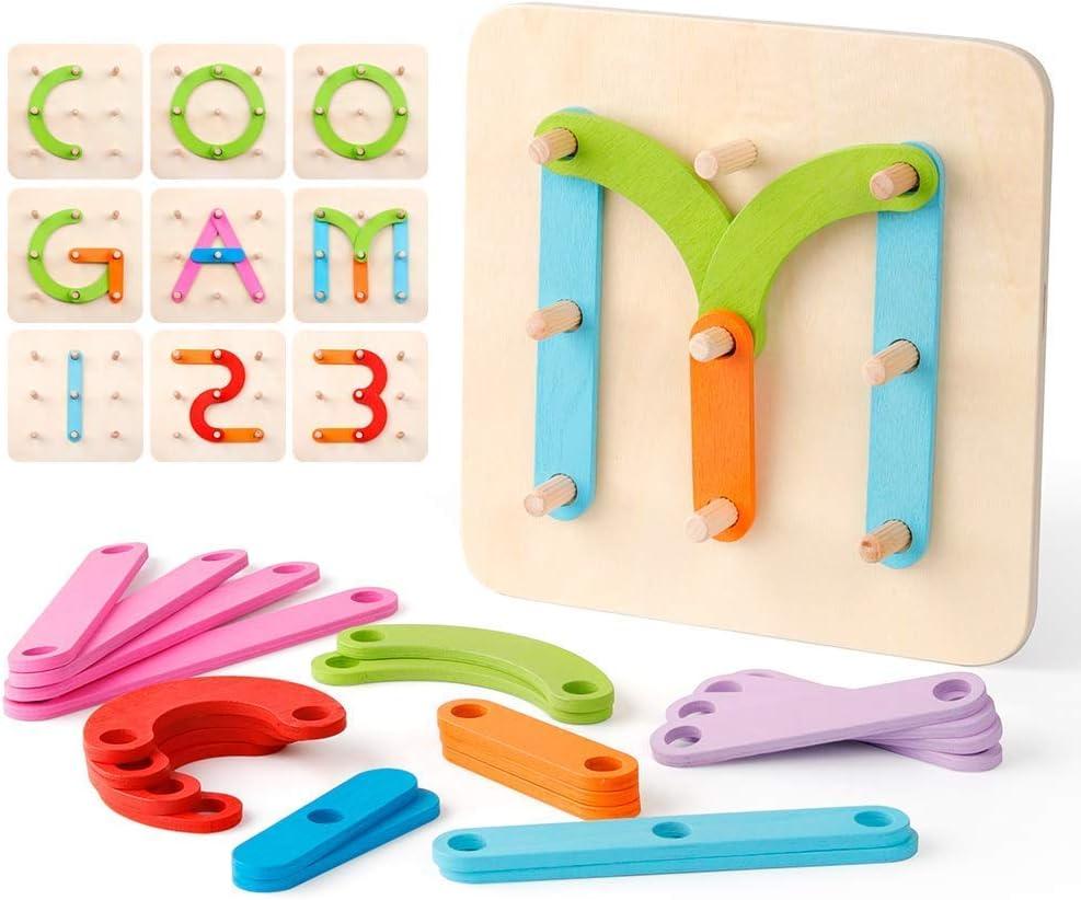 Coogam Números de Madera y Letras Kit de Construcción Forma de Juguete Educativo Montessori Reconocimiento de Color Número de Juego Tablero de Clasificación para Niños