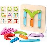Coogam Houten Cijfers en Letters Bouw Activiteitenset Montessori Preschool Educatief Speelgoed Vorm Kleurherkenning Spel Houten Stapelblokken Sorteerbord voor Kinderen Peuters