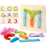 Coogam Wooden Letter Number Construction Puzzle Educational Stacking Blocks Toy Set Shape Color Sorter Pegboard Activity Boar