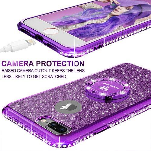 Funda para iPhone 7 Plus/8 Plus,Purpurina Ultra Slim Soft TPU Fundas con Dimantes Anillo Movil Protector iPhone 7 Plus/8 Plus Para Mujer,oro Rosa iPhone 7 Plus/8 Plus Glitter Funda-Púrpura