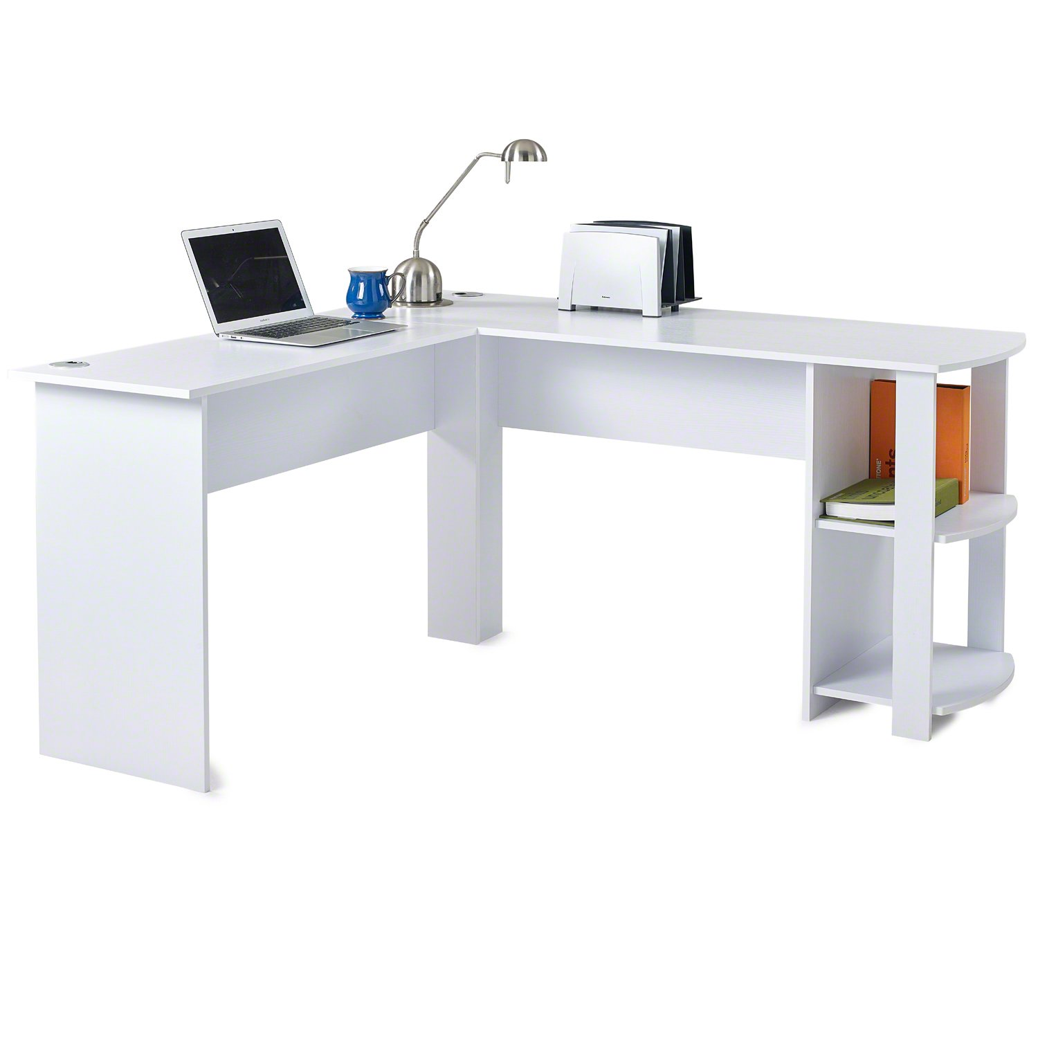 L Shaped Office Computer Desk, Large Corner PC Table With 2 Shelves For Home