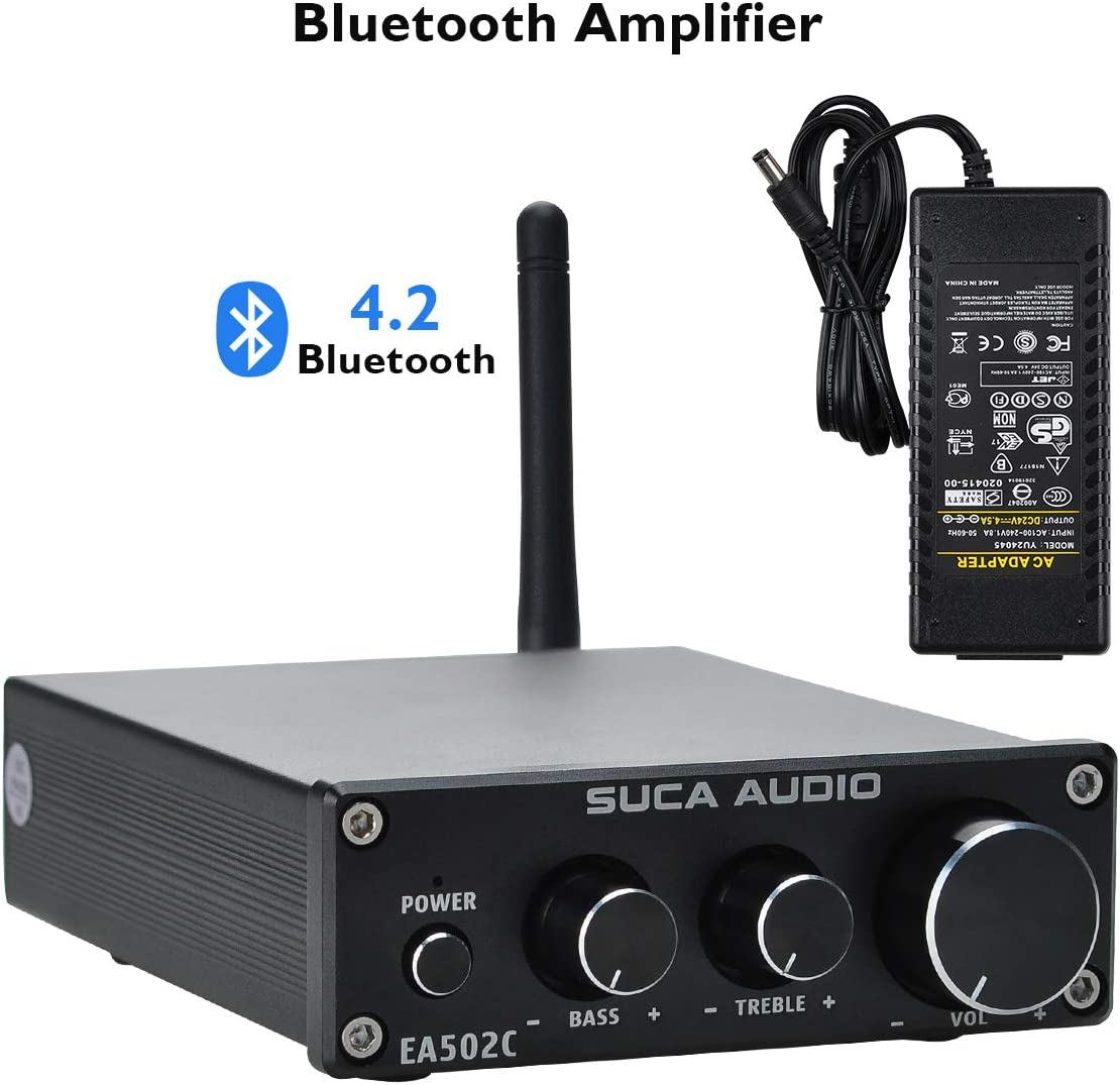 SUCA-AUDIO Bluetooth 4.2 APTX Stereo Audio Amplifier Receiver 2 Channel 50W x 2 TPA3116 Class D Mini Hi-Fi Integrated Amp for Home Desktop Speakers with Bass and Treble Control & Power Supply Black