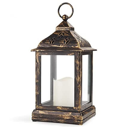 Bright Zeal 10u0026quot; Decorative Lantern LED Candle   Bronze Lantern Vintage  Lanterns Decor   Hanging