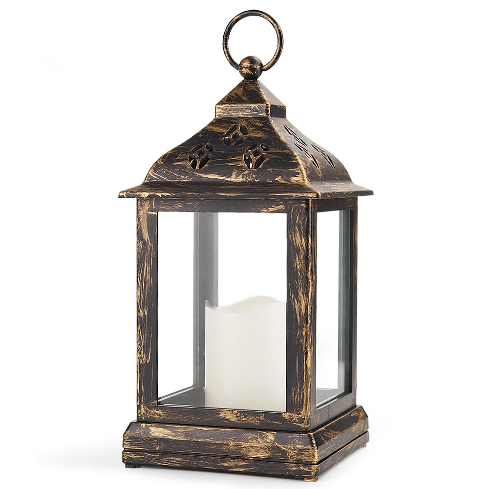 Bright Zeal 10'' Decorative Lantern LED Candle - Bronze Lantern Vintage Lanterns Decor - Hanging Candle Lanterns Indoor - Outdoor Candle Lanterns Patio - Battery Lanterns Indoor Use LED by Bright Zeal