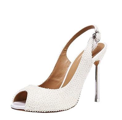 la plus récente technologie ventes spéciales 100% de haute qualité Sexy Perle Dames Chaussures de Mariage Chaussures à Talons ...