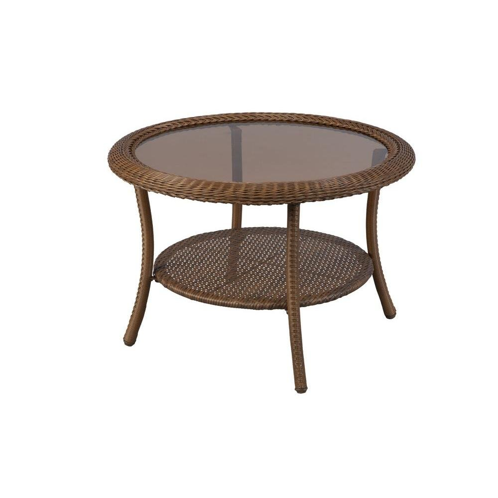 Amazon.com : Spring Haven Brown All-Weather Wicker 30 in. Round Patio Coffee Table : Patio, Lawn & Garden