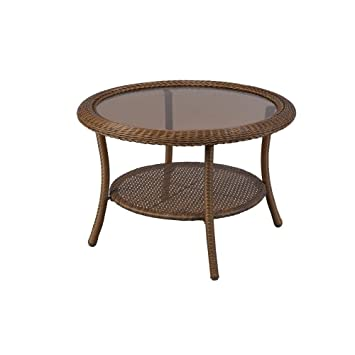 Spring Haven Brown All-Weather Wicker 30 in. Round Patio Coffee Table