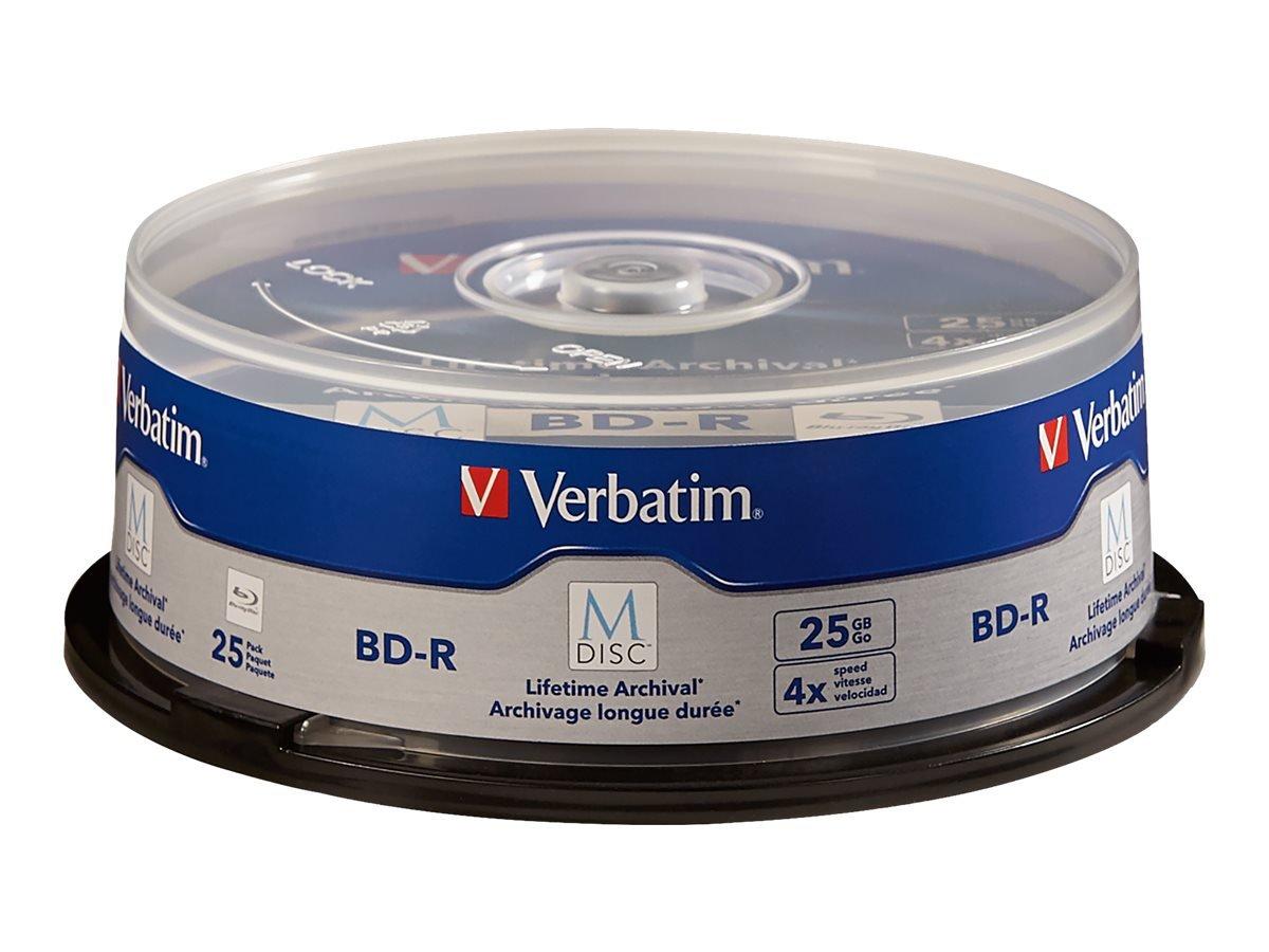 Verbatim M-Disc BD-R 25GB 4X with Branded Surface - 25 Pack Spindle 98909 by Verbatim