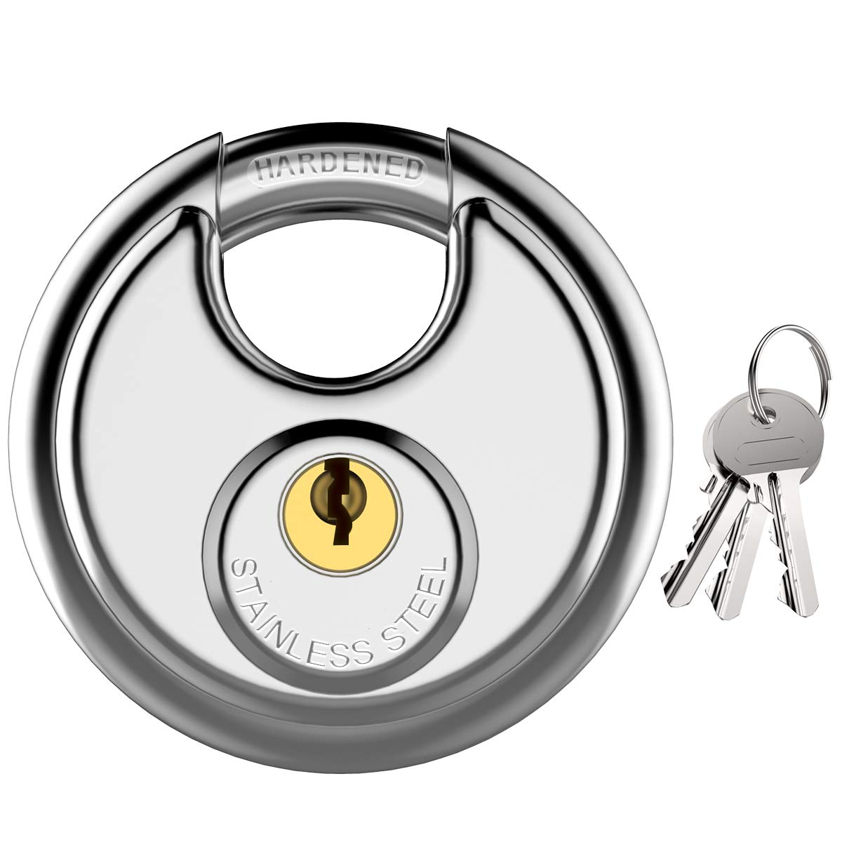 Puroma Keyed Padlock, Stainless Steel Discus Lock with 3/8-Inch Shackle for Sheds, Storage Unit, Garages and Fence by Puroma