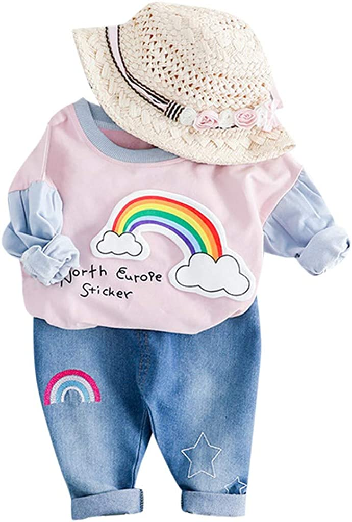 North Europe Sticker Kaicran Toddler Baby Girl Long Sleeve Color Block Rainbow T-Shirt Tops and Jeans Pants Outfits Set