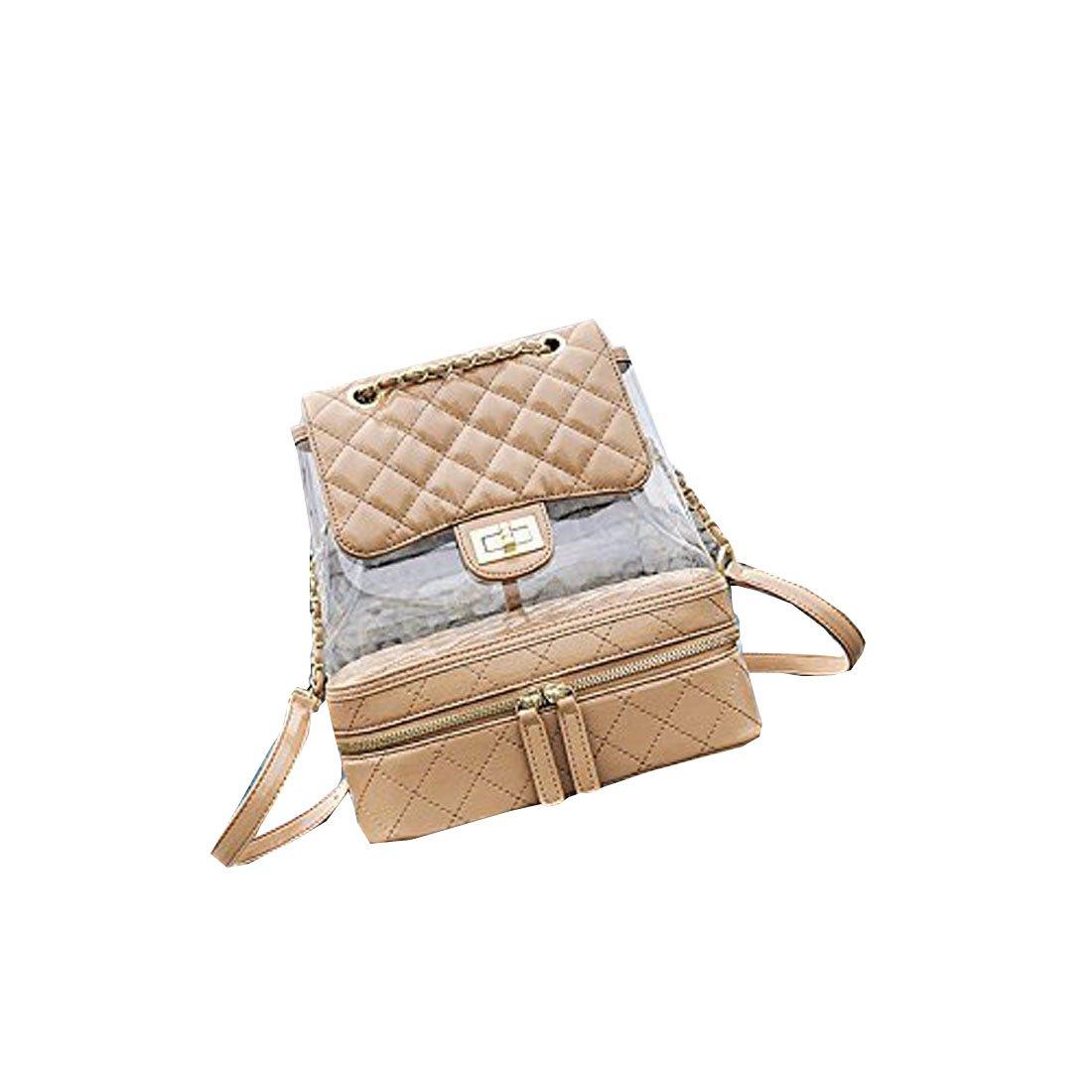 Chain backpack female summer fashion loose transparent backpack travel Bag student shopping handbag