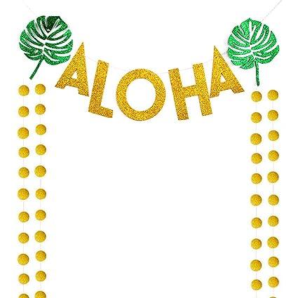 Amazon.com: Hawaiian Aloha Party Banner Decoraciones, Luau ...
