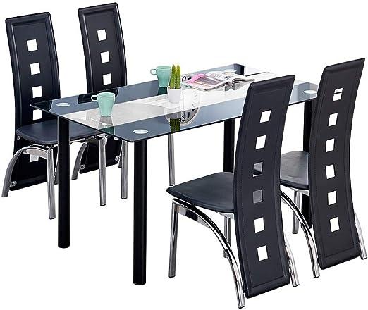 Boju - Juego de mesa y sillas de comedor para cocina, color negro ...
