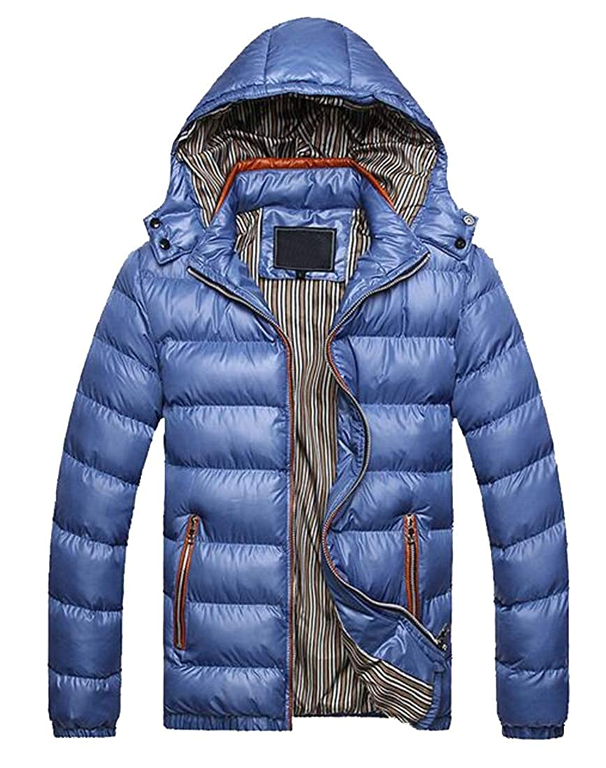 Jofemuho Mens Lightweight Winter Warm Hooded Pure Color Down Quilted Jacket Coat