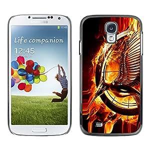 QCASE / Samsung Galaxy S4 I9500 / pájaro de fuego arte anillo mágico llamas estatua mágica / Delgado Negro Plástico caso cubierta Shell Armor Funda Case Cover