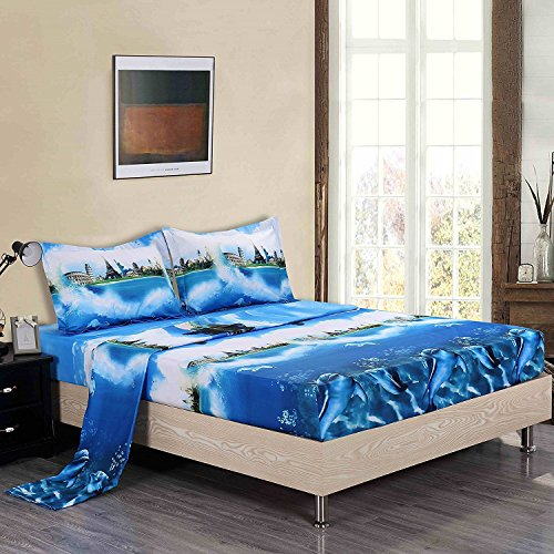 Good Bedding Sheets 4 Piece Soft 300 TC Microfiber Wrinkle/Color Fade  Resistant 3D Ocean