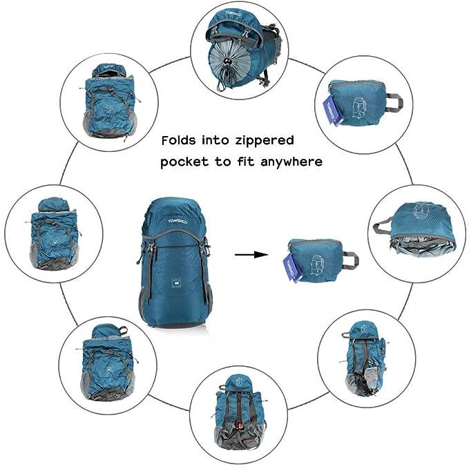 Mochila Tomshoo de 40L impermeable de nailon, para actividades al aire libre, viajes, senderismo, bolsa plegable, Dunkelbalu: Amazon.es: Deportes y aire ...