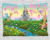 Ambesonne Cartoon Decor Tapestry by, Fairy Tale Castle Scenery in Floral Garden Princess Kids Girls Fantasy Picture, Wall Hanging for Bedroom Living Room Dorm, 60WX40L Inches, Multi