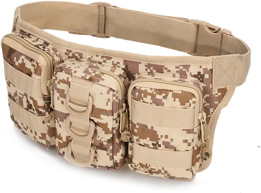 Daliuing Military Army Waist Bag Three connected Lightweight Waist Pack Portable Multifunctional Fanny Pouch Pocket for Sports Travel