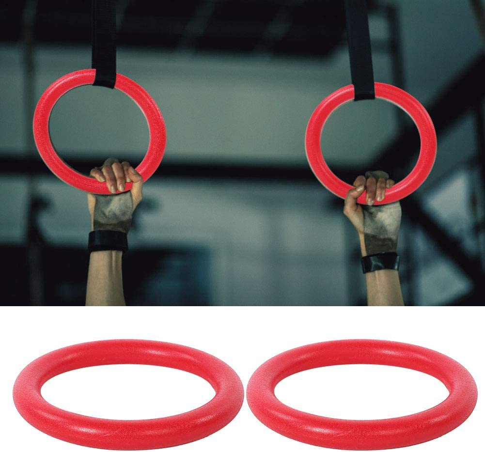 SOONHUA Professional Portable ABS Gymnastic Rings Gym Fitness Training Exercise Tool with Red Ring Black Straps for Yoga Pilates Exercise Exercises use