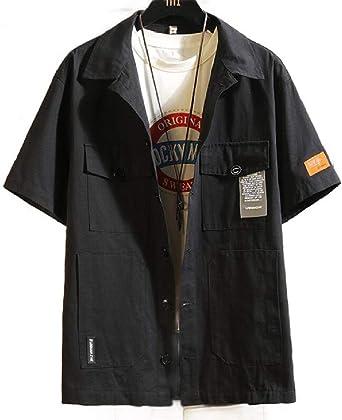 dahuo - Camisa Tipo Militar de Manga Corta con Botones para Hombre Negro Negro (S: Amazon.es: Ropa y accesorios