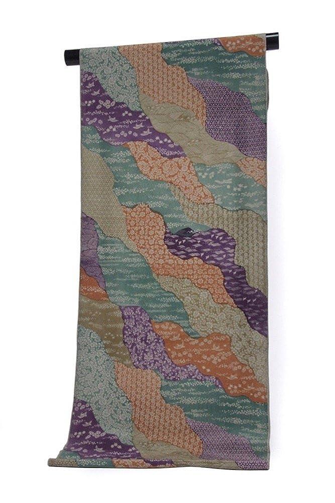 正絹 小紋 着尺 反物 グレー 浜ちりめん 更紗  1.グレー×紫×緑×茶 B07C52GLVP