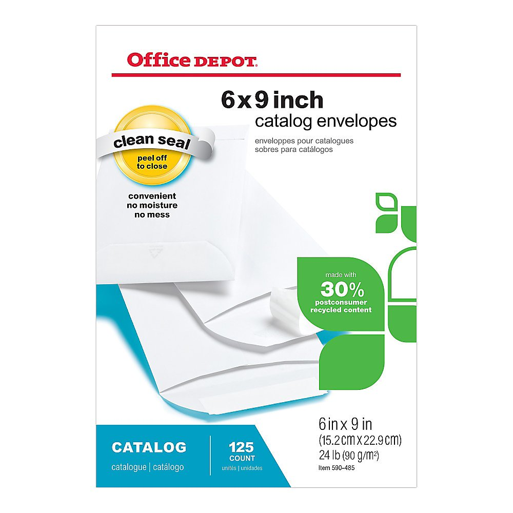Office Depot Clean Seal(TM) Catalog Envelopes, 6in. x 9in., 30% Recycled, White, Box Of 125, 77R19