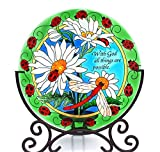 Acever Desktop Decor Hand Paint Arg Glass Candle Holder Table Topper Candleware Home Decor Office Decor Calendar Stand (Chrysanthemum and Ladybugs)