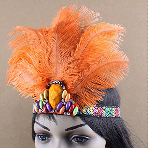 Women's Handmade Indian Feather Fascinator Headband, Fascinator Headpieces for Fancy Party, Cocktail Hat with Headband (Orange)