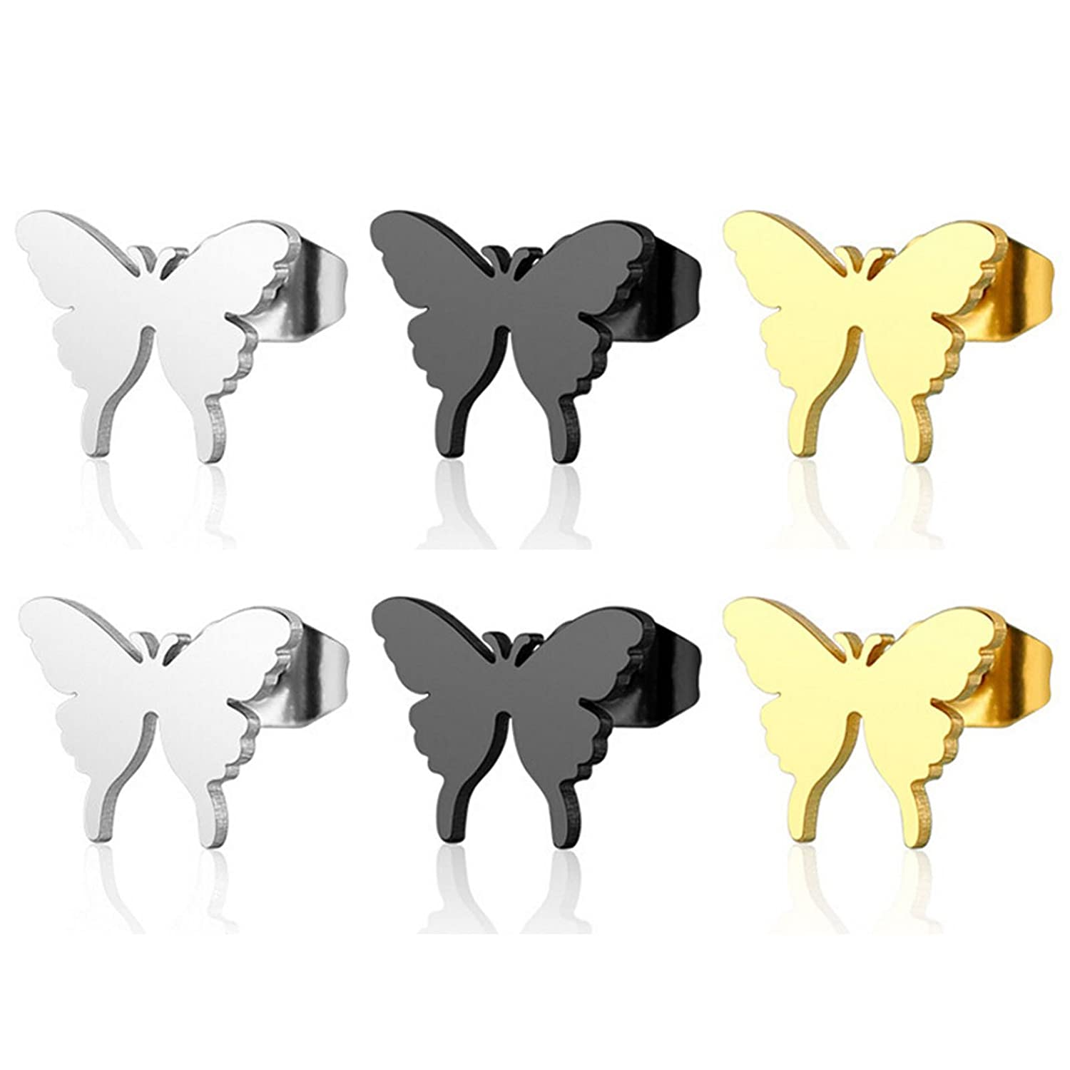 Butterfly Beydodo Surgical Stainless Steel Earring Posts Butterfly Earring 3 Pairs//6Pcs Stud Earrings