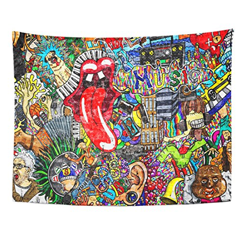 TOMPOP Tapestry Artist Music Collage on Large Brick Wall Graffiti Urban Home Decor Wall Hanging for Living Room Bedroom Dorm 60x80 Inches