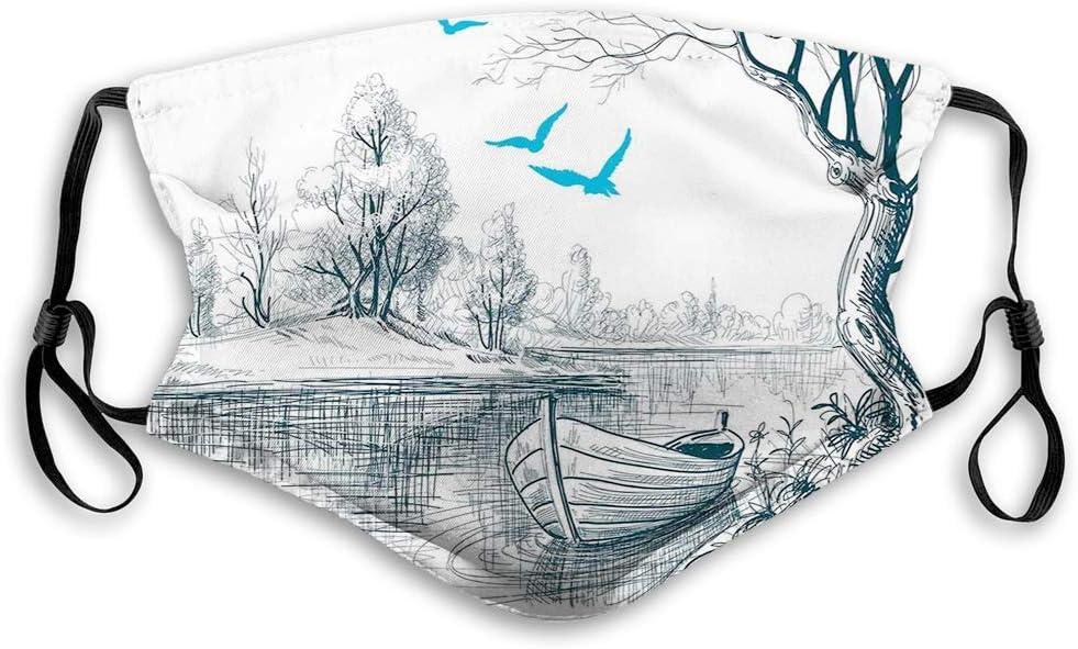 GABRI Mundschutz Gesichtsschutz Boot auf ruhigen Flussb/äumen V/ögel Zweige Skizze Zeichnung Clipart Wasser minimalistisch Antistaub Waschbar und Wiederverwendbar Bandana mit Filtern
