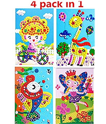 Wtong Mosaic Sticker Art Kits for Kids Animals Girl Giraffe Fish Butterfly Flower(Pack of 4) (Scratch And Sniff Stickers Bulk)