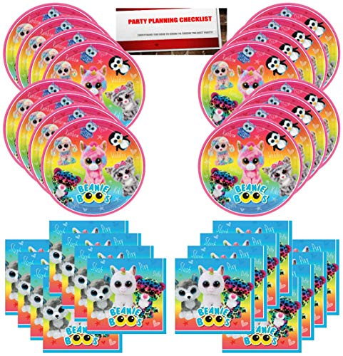 Beanie Boos Party Birthday Supplies Bundle Pack for 16 Guests (Plus Party Planning Checklist by Mikes Super Store) ()