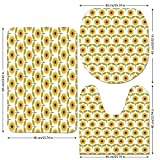 3 Piece Bathroom Mat Set,Sunflower Decor,Sunflowers Pattern Autumn Country Style Decorating Retro Illustration Print,Yellow White Green,Bath Mat,Bathroom Carpet Rug,Non-Slip