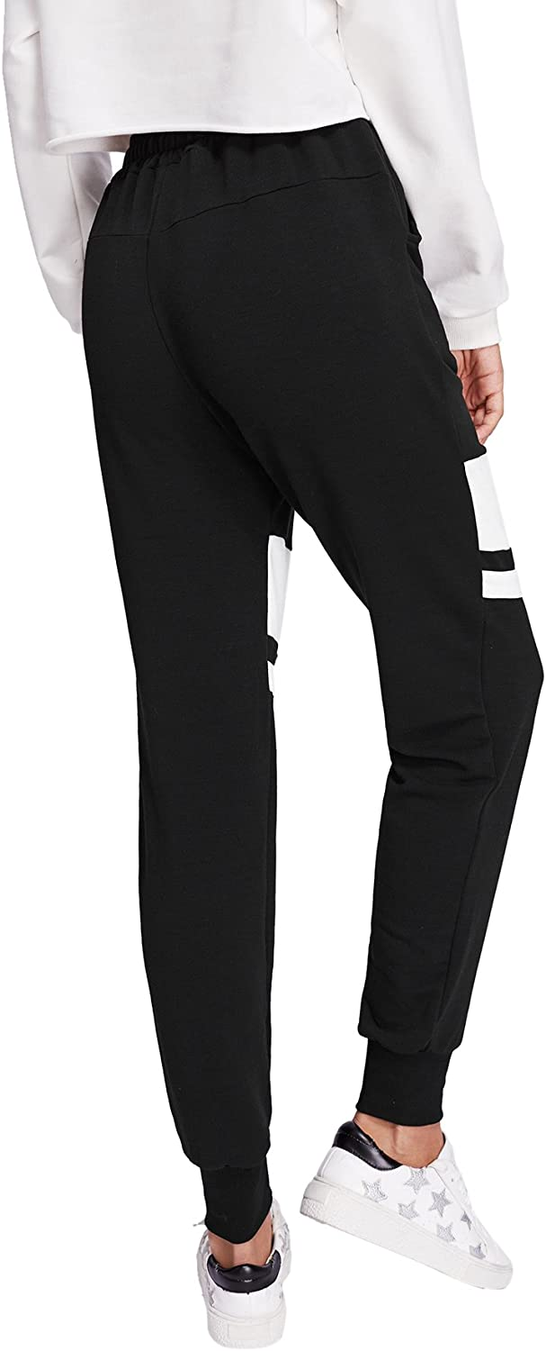 SweatyRocks Womens Drawstring Waist Long Workout Yoga Active Pant with Pocket