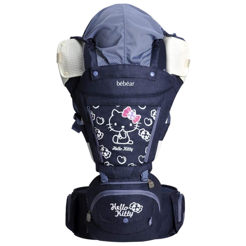 FIFY Babytrage Taillenschemel-Babyriemen-Multifunktionsvierjahreszeiten Universalsitz-Babyriemen-Frontstreichelnholding-Babyartefakt-Frontumarmung neugeborenes Kind-Nachtblau, A