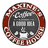 MAXINE'S Coffee House Chic Tin Sign Rustic Shabby Vintage style Retro Kitchen Bar Pub Coffee Shop man cave Decor Gift Ideas For Sale